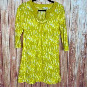 Boden Retro Vintage Style Yellow Kaftan Dress (8)
